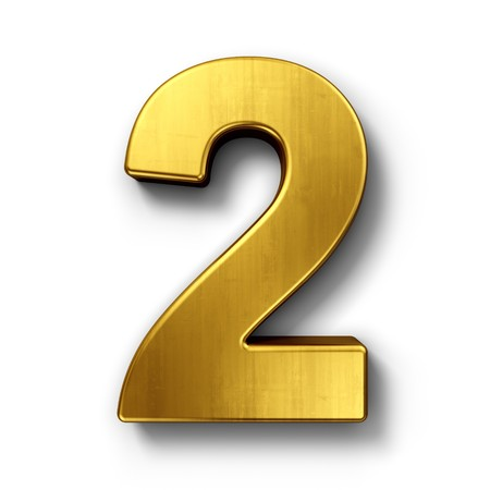 number two: 3d rendering of the number 2 in gold metal on a white isolated background. Stock Photo