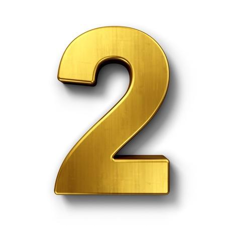 Het 3d teruggeven van nummer 2 in gouden metaal op een wit geïsoleerde achtergrond. Stockfoto