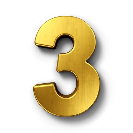 three: 3d rendering of the number 3 in gold metal on a white isolated background.