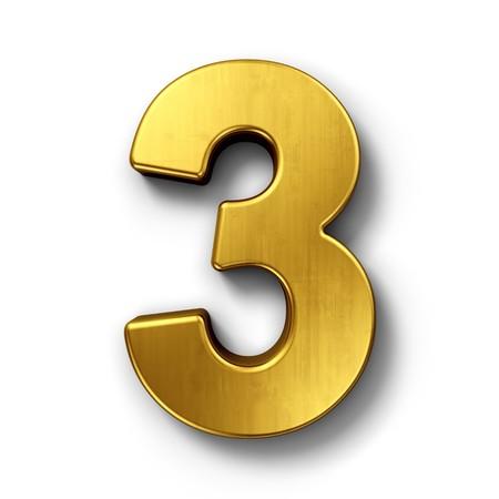 Het 3d teruggeven van nummer 3 in gouden metaal op een wit geïsoleerde achtergrond.