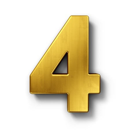 3d rendering of the number 4 in gold metal on a white isolated background. photo