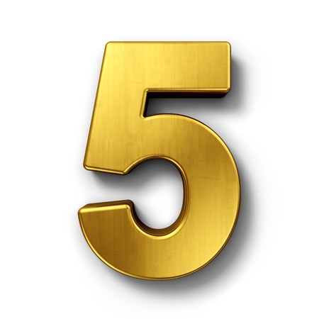 number five: 3d rendering of the number 5 in gold metal on a white isolated background.