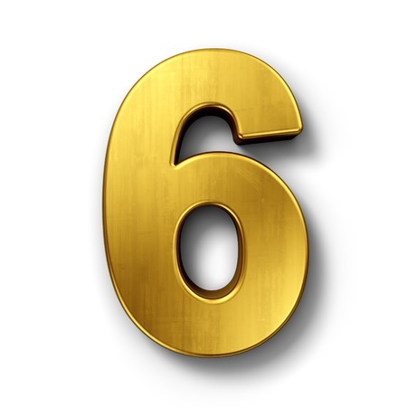 3d rendering of the number 6 in gold metal on a white isolated background.