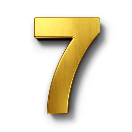 3d rendering of the number 7 in gold metal on a white isolated background. Stock Photo - 7826984