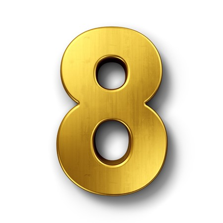 number 8: 3d rendering of the number 8 in gold metal on a white isolated background.