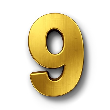 digits: 3d rendering of the number 9 in gold metal on a white isolated background.