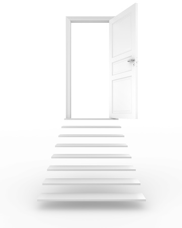 3d rendering of a door at the top of some stairs photo