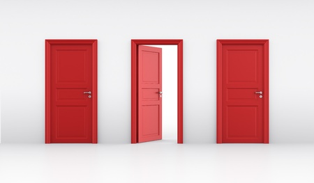 doorframe: 3d rendering of three doors, one open and two closed Stock Photo