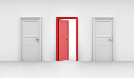 doors open: 3d rendering of three doors, one open and two closed Stock Photo
