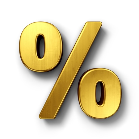3d rendering of the percentage sign in gold on a white isolated background.