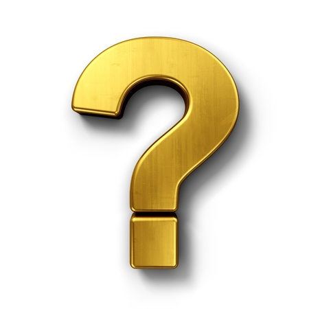 to mark: 3d rendering of the question mark sign in gold on a white isolated background. Stock Photo