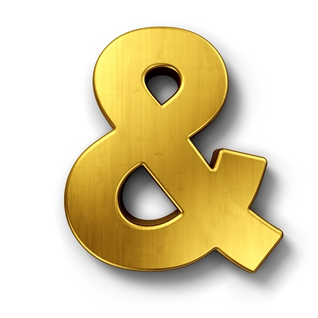 3d rendering of the and sign in gold on a white isolated background. photo