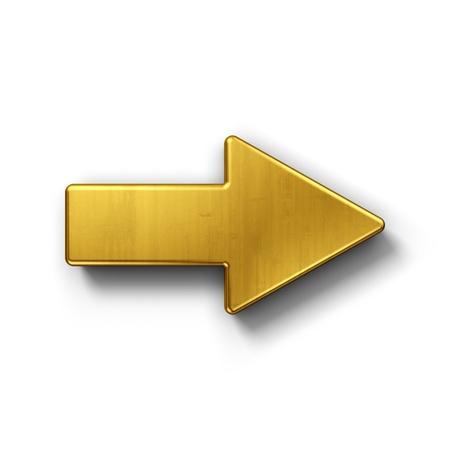 freccia destra: rendering 3D di un simbolo di freccia in oro su sfondo bianco isolato.
