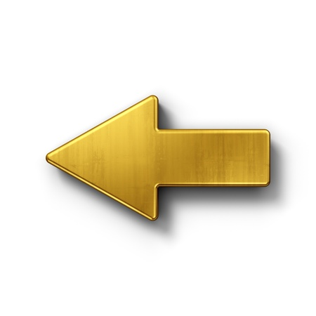 arrow left icon: 3d rendering of an arrow symbol in gold on a white isolated background.