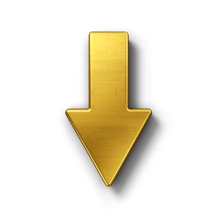 freccia giù: rendering 3D di un simbolo di freccia in oro su sfondo bianco isolato.