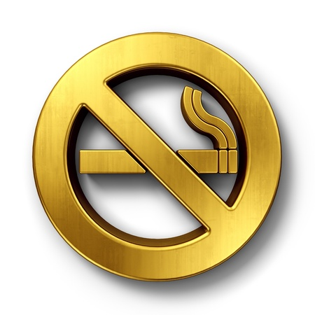 3d rendering of a no smoking sign in gold on a white isolated background. photo