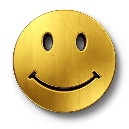 cgi: 3d rendering of a smiley face in gold on a white isolated background. Stock Photo