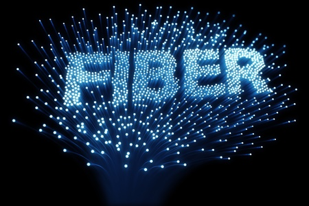 fibre optique: rendu 3D de fibres optiques formant le mot � fibre �