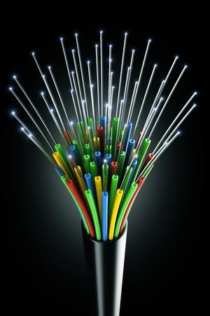 fiber cable: 3D-weergave van een optische vezel kabel op een zwarte achtergrond