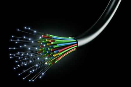 fibra �ptica: procesamiento de 3D de un cable de fibra �ptica sobre un fondo negro
