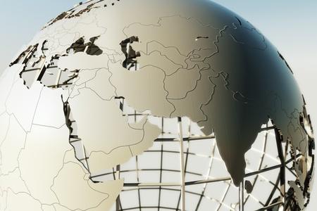 3D-weergave van een wereldbol weergegeven: het Midden-Oosten