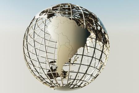 amerique du sud: 3d rendering of a globe showing South America Banque d'images