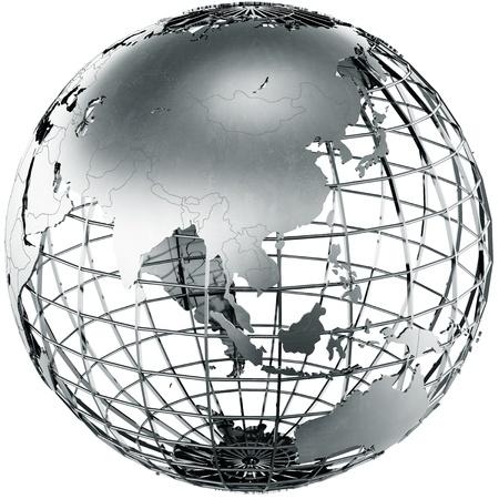 3d rendering of a metal globe showing Asia