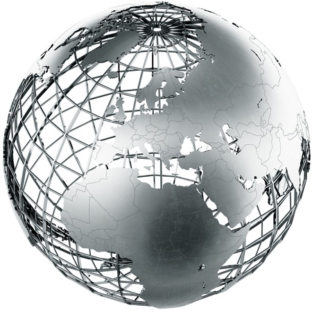 3d rendering of a metal globe showing Europe Zdjęcie Seryjne