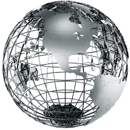 3d rendering of a metal globe showing North america Zdjęcie Seryjne