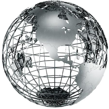 the globe: rendering 3D di un globo di metallo che mostra il nord america