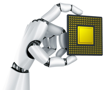 3d rendering of a robot hand holding a CPU photo