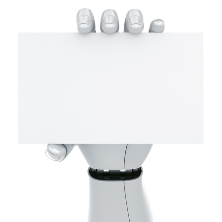 3d rendering of a robot hand holding a blank sign Stock Photo - 9136601