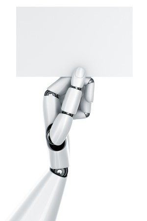 3d rendering of a robot hand holding a blank sign Stock Photo - 9136595