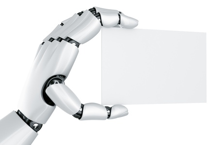 robotic: 3d rendering of a robot hand holding a blank sign