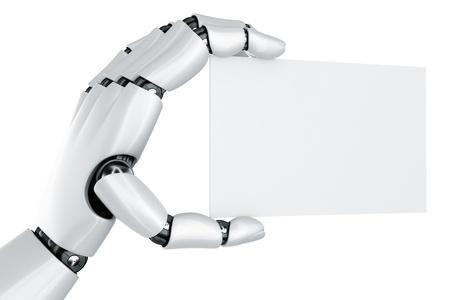 Representación 3D de una mano de robot de un signo en blanco Foto de archivo - 9136606