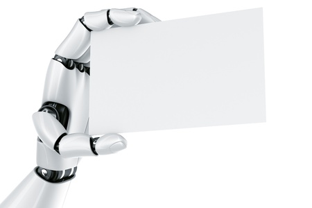 3d rendering of a robot hand holding a blank sign Stock Photo - 9136600