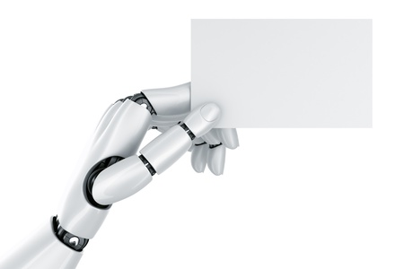 3d rendering of a robot hand holding a blank sign photo