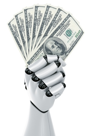 fanned: 3d rendering of a robot hand holding 100 dollar notes