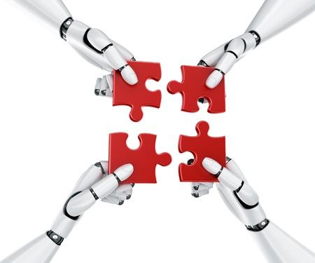 robotics: 3d rendering of 4 robot hands holding a puzzle piece