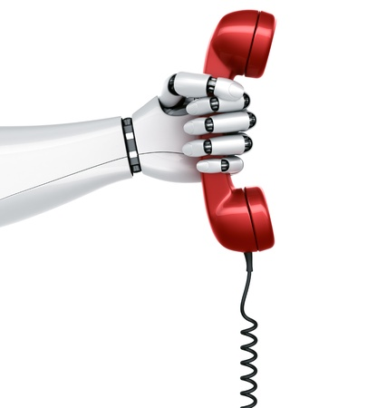 3d rendering of a robot hand holding a red telephone Stock Photo - 9136589