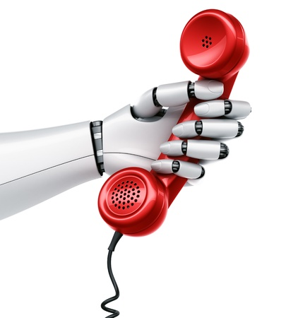 robotic: 3d rendering of a robot hand holding a red telephone