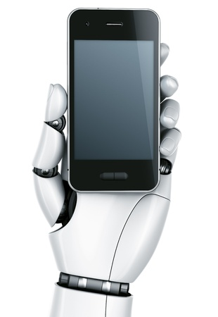 3d rendering of a robot hand holding a smartphone photo