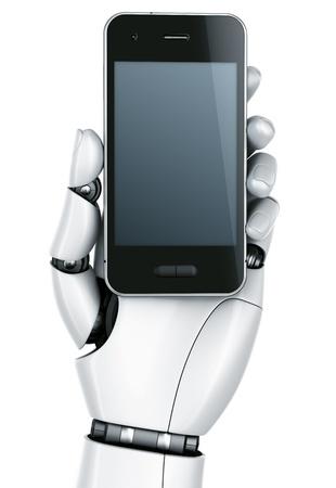 touchscreen: representaci�n 3D de una mano de robot de un smartphone