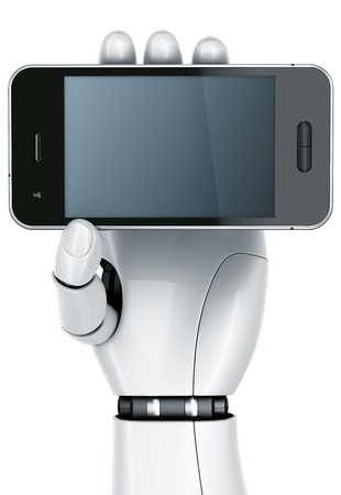 3d rendering of a robot hand holding a smartphone Stock Photo - 9136660