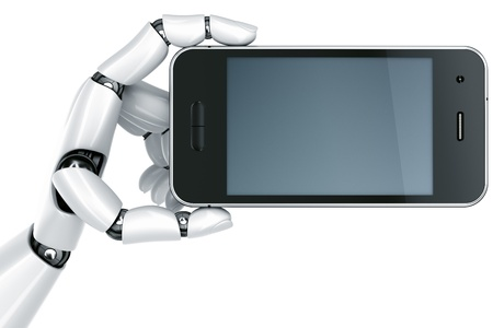 3d rendering of a robot hand holding a smartphone Stock Photo - 9136662