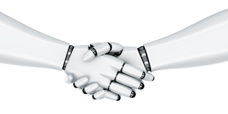 3d rendering of a robot shaking hands photo