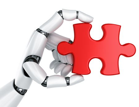 3d rendering of a robot hand holding a puzzle piece Stock Photo - 9136605