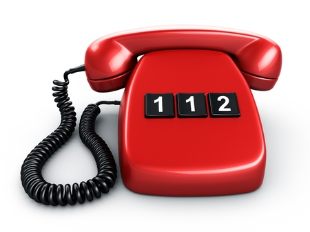 emergency number: 3d rendering of an old vintage phone with three BIG buttons saying 112, the emergency number in Europe Stock Photo