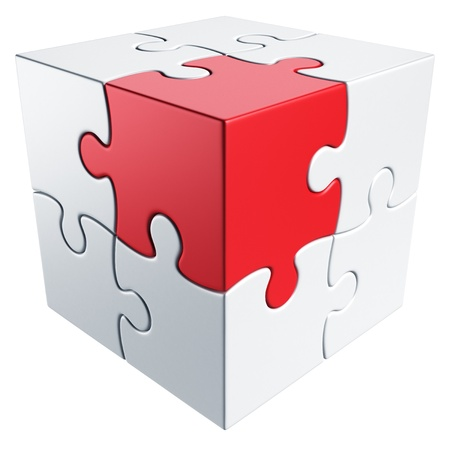 puzzles: 3d rendering of a cube made of puzzle pieces Stock Photo