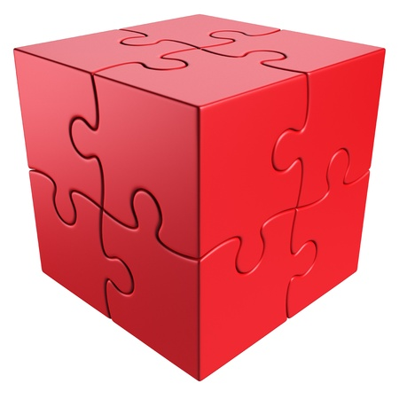 cube puzzle: 3d rendering of a cube made of puzzle pieces Stock Photo